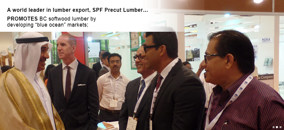 "SPF Precut Lumber promotes BC softwood lumber by developing ""blue ocean"" markets;"