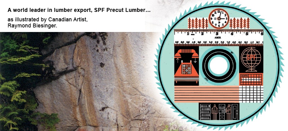SPF Precut Lumber illustrated by Canadian Artist Raymond Biesinger.